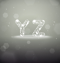Glowing Font from Y to Z on Bokeh Backgroun vector