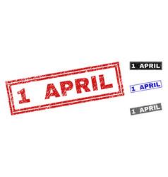 grunge 1 april textured rectangle stamp seals vector image