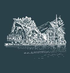 hand drawn church on mountain lake vector image