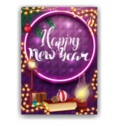 happy new year purple greeting card for your vector image