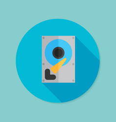 Hard drive disk flat icon with long shadow eps10 vector