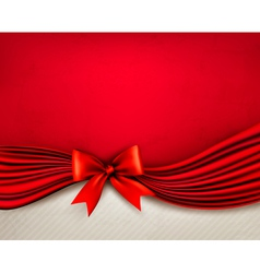 Holiday red background with gift glossy bow and vector image