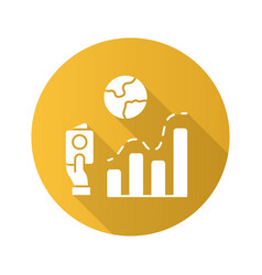Immigration rate yellow flat design long shadow vector