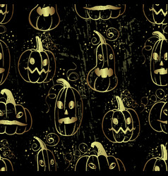 ink hand drawn halloween pattern with pumpkin vector image