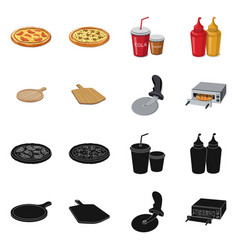 Isolated object of pizza and food sign set of vector