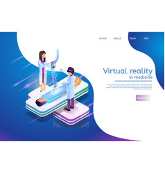 Isometric banner virtual reality in medicine 3d vector