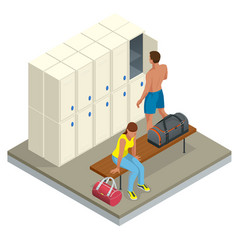 Isometric interior of a locker and changing room vector