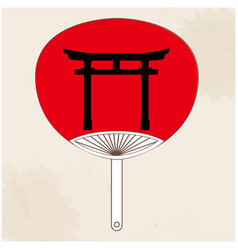 Japanese fan japanese gate painting image vector