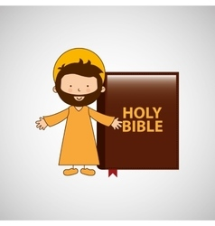 Jesus christ open arms with bible design vector