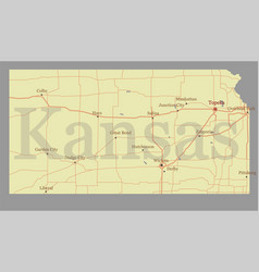 Kansas accurate exact detailed state map vector