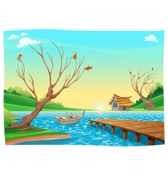 Lake with boat vector image