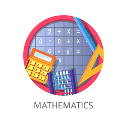 Mathematics discipline in school and university vector