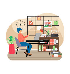 modern office workplace with vision board happy vector image