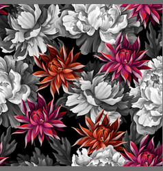 Monochrome seamless pattern with vintage peonies vector