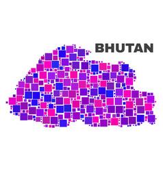 mosaic bhutan map of square elements vector image