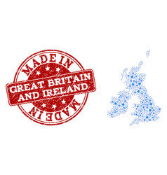 mosaic map of great britain and ireland with vector image