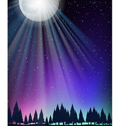 Nature scene with moon and stars vector