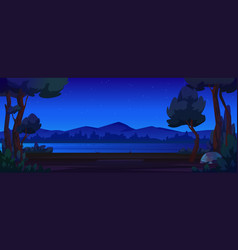 night landscape river mountain scenery background vector image