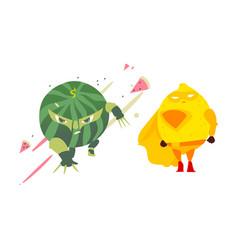 Ninja watermelon and superhero lemon character vector