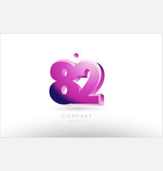 number 82 black white pink logo icon design vector image