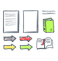 Office paper and bookmark in book icons set vector
