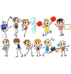 People doodles vector image
