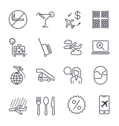Plane icons set set of 16 outline icons vector