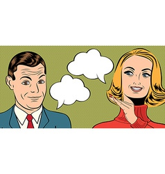 Pop art cute retro couple in comics style with vector
