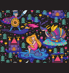princess seamless pattern for textile with castle vector image