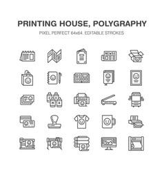 Printing house flat line icons print shop vector