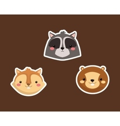 Raccoon squirrel and beaver icons image vector