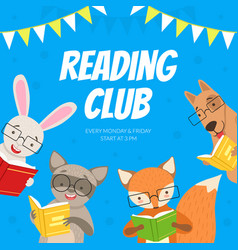 reading club kids educational community vector image