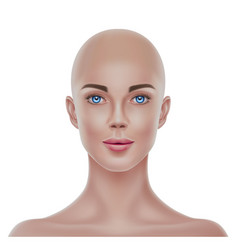 realistic bald hairless woman portrait 3d vector image