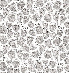 Seamless pattern of doodles beards and eyeglasses vector