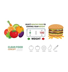 select healthy food to control your weight vector image