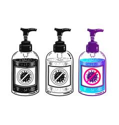 set sanitizer bottles vector image