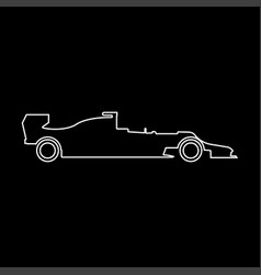 Silhouette of a racing car white color path icon vector