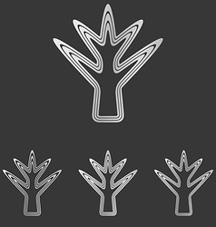 Silver line plant logo design set vector