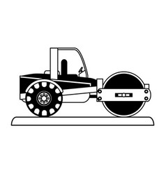steamroller construction heavy machinery icon vector image