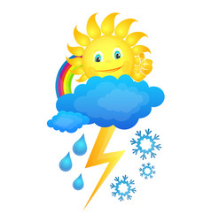 sun in the clouds and different weather vector image