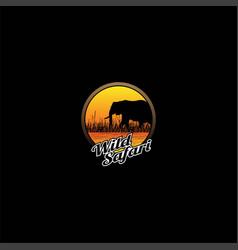 sunset african safari elephant silhouette logo des vector image