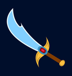 Sword icon label of fantasy and medieval weapon vector