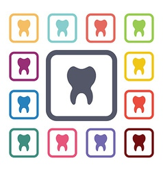 Tooth flat icons set vector