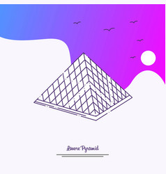 Travel louvre pyramid poster template purple vector