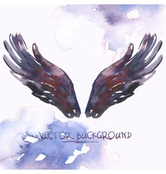 Watercolor background with angel wings vector