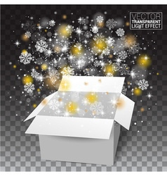 White christmas open box snow and glitter falls vector