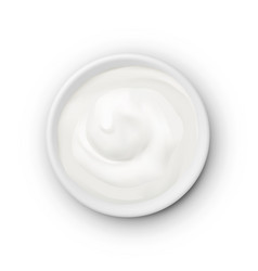 White round bowl creamy product on white vector