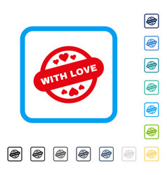 with love stamp seal framed icon vector image