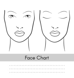 Woman face chart portrait Female face with open vector