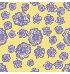 Yellow and purple seamless flower pattern vector image